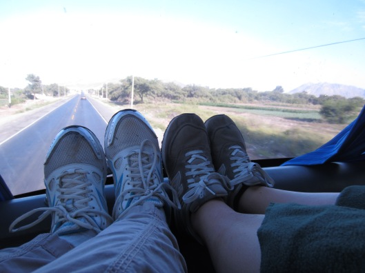 Feet on bus